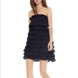 MISA Strapless Smocked Tiered Ruffle Mini Dress S